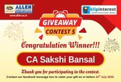 giveaway contest-5 winner