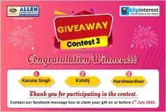 Giveaway Contest 3 Winner